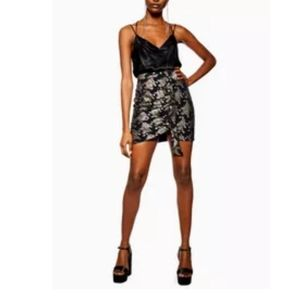 Topshop Foiled Ruched Miniskirt